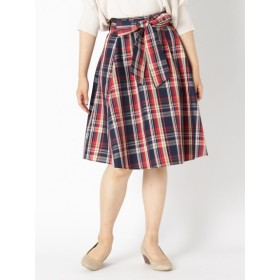 【大きいサイズレディース】【秋冬まとめ買いキャンペーン】【LL-4L】スキスカチェックミディスカート<2点購入で10%OFF、3点以上で15%OFFタイムセール> スカート 膝丈スカート