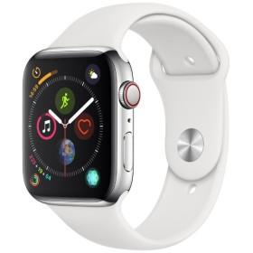 Apple Watch Series 4(GPS + Cellularモデル)- 44mm ステンレススチールケースとホワイトスポーツバンド MTX02J/A