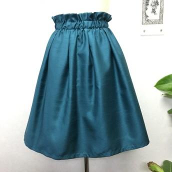 綺麗なダークグリーンカラーのふんわりタックギャザースカート
