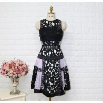 ラウンドネック ノースリーブレース スカートドレス【a0100】