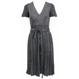 Vネックゴールド糸シルクニット ブレストウエストベルト 半袖ドレス【a0733】