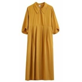 初夏にぴったりパステルカラーの7分袖ワンピース 襟付き ゆったり 大きいサイズ9108