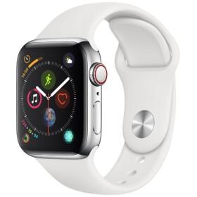 Apple Watch Series 4(GPS + Cellularモデル)- 40mm ステンレススチールケースとホワイトスポーツバンド MTVJ2J/A