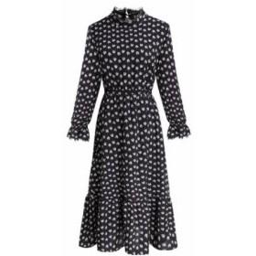 レトロな黒花ドレス【a0105】