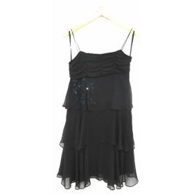 【中古】シンシアローリー CYNTHIA ROWLEY ドレス ワンピース ひざ丈 ビーズ  ノースリーブ 2 黒 ブラック /KT10 レディース