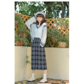 2018 A/W 新作!大人カジュアル レトロスタイル チェック スカート ミモレ丈 tzt0192
