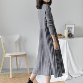長袖のニットドレス【a0061】