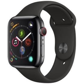 Apple Watch Series 4(GPS + Cellularモデル)- 44mm スペースブラックステンレススチールケースとブラックスポーツバンド MTX22J/A