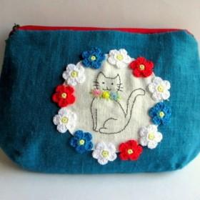 お花とネコのリネンポーチL*ターコイズブルーB