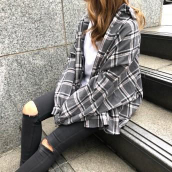 シャツ - SHEENA オーバーサイズチェックシャツ 【 秋 冬 】 シャツ ジャケット トップス チェック オーバーサイズ ルーズ BIG ボリューム