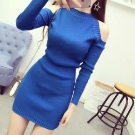 長袖のニットドレス【a0181】