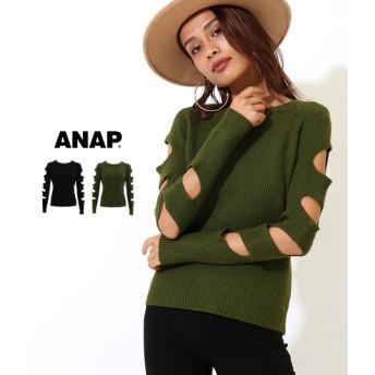 【セール開催中】ANAP(アナップ)オープンスリーブリブニットトップス