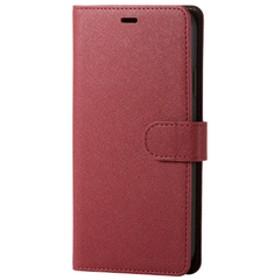 エレコムiPhone XR用ソフトレザーカバー/サフィアノ/スナップ付レッドPM-A18CPLFYSRD