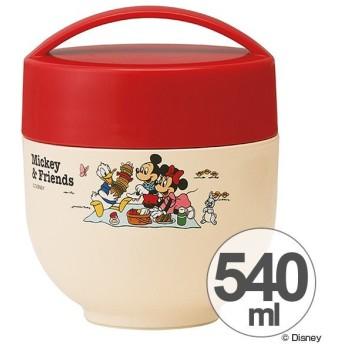 保温弁当箱 ランチボックス どんぶり型 コンパクトタイプ ミッキー Mickey&Friends ピクニック 540ml ( 丼 麺 お弁当箱 保温 保冷 )
