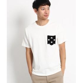 BASE CONTROL(ベースコントロール) 【WEB限定】ボーダー スター 異素材ポケットTシャツ