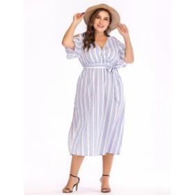 【XL~4XL】カジュアル 半袖 コールドショルダー 休日 週末 エレガント Vネック 大きなサイズ ドレス 70011