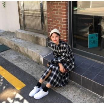 2018秋冬新作!トレンドのレトロスタイル☆タータンチェックが可愛いシャツワンピース♪オーバーサイズでオシャレに  C30350