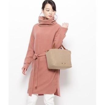 pink adobe(ピンクアドベ) ベルテッド起毛タートルワンピース