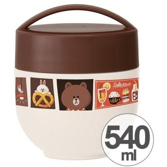保温弁当箱 ランチボックス どんぶり型 コンパクトタイプ LINEフレンズ ブラウンカフェ 540ml ( 丼 麺 お弁当箱 保温 保冷 )