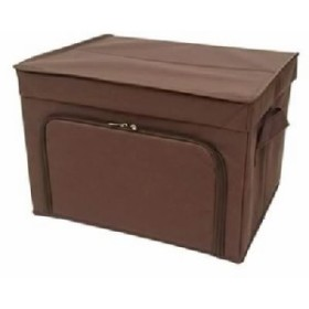 【3個セット】 フラップボックス/収納箱 【M ダークブラウン】 幅40cm×奥行33cm×高さ27cm 茶
