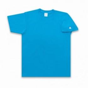 うんこ 半袖Tシャツ 袖口タイプ ターコイズ×ホワイト 袖にうんこついてるよ!