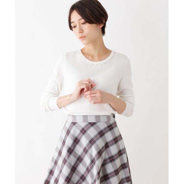 index(インデックス) 【洗える】ヘリンボーン風パールネックニット
