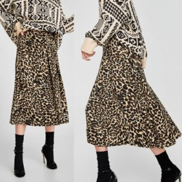 ヒョウ柄フレアミモレスカート  ひょう柄 豹柄 レオパード アニマル柄 トレンド 8309