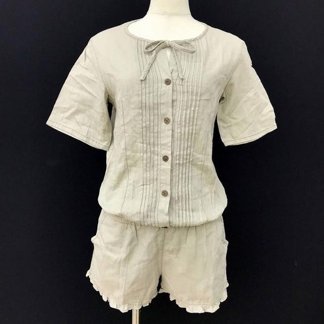 中古 charlotte ronson シャーロット ロンソン コンビネゾン 半袖 ブラウジング 綿 コットン レディース