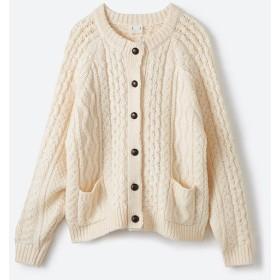 ハコ 古着屋さんで見つけたようなもっふりケーブル編みカーディガン レディース オフホワイト S 【haco!】