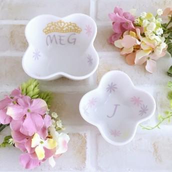 フラワーボウル&スプーン*ラプンツェルカラー ピンク×パープル ティアラでプリンセス気分*花柄 名入れ 小鉢 離乳食