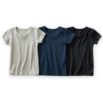 綿100%ベーシック半袖シャツ3枚組(男の子 子供服。ジュニア服) キッズ下着