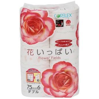 コアレックス信栄 ハーブの杜香り付き 花いっぱい トイレットペーパー ダブル 75m 6ロール