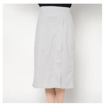コムサイズム COMME CA ISM スリット ナロースカート (ライトグレー)