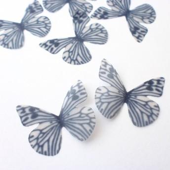 ちょうちょのパーツ 3cm シフォン・オーガンジー素材 蝶々 パーツ ブラック ホワイト 54