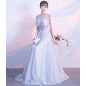 パーティードレス  レース  二次会 結婚式 披露宴 司会者 舞台衣装 花嫁 花柄手作り ロングドレス  新作