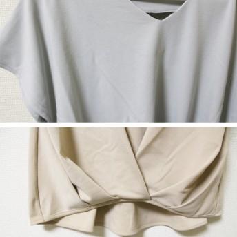 Tシャツ - MiiDUE ポンチ裾タックVネックプルオーバー ドルマン Tシャツ レディース 半袖 無地 シンプル トップス 大人カジュアルファッションプルオーバー ポンチ素材/MiiDUE