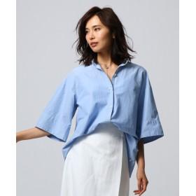 UNTITLED essential clue(アンタイトル エッセンシャルクルー) 【洗える】コットンシルク2WAYセミワイドシャツ