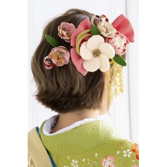 ヘアアクセサリー全般 - SOUBIEN 髪飾り つまみ細工 3点セット ピンク アイボリー 金色 和柄 椿 花 リボン 縮緬 ぶら飾り コーム 髪留め 成人式向け 卒業式向け 振袖向け 袴向け ヘアアクセサリー 日本製