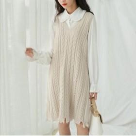 ニットワンピースで韓国ファッションを!OL 通勤 秋冬ルネックロング丈ニット ケーブル編み パーティーワンピ 体形カバードレス