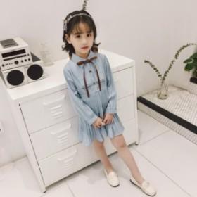 85c72c9a36aa9 韓国子供服 女の子 ワンピース 発表会 演奏会 ギャザー パーティ フォーマル 襟付き ワンピースドレス