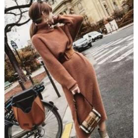 ロングワンピース 大きいサイズ カットソー ニット ワンピース ロングワンピース ハイネック ベルト付きフェミニン cn0114