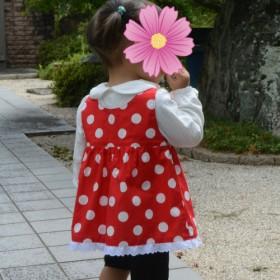 赤×白ドット模様のチュニックワンピース(子供用)(コスプレ)