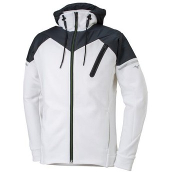 MIZUNO SHOP [ミズノ公式オンラインショップ] ストレッチフリースヘビージャケット(大きいサイズ)[メンズ] 01 ホワイト×ブラック 32JC8G63