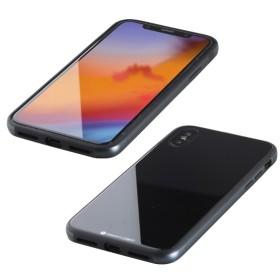 iPhone XS Max 6.5インチ用 ガラス+TPU+アルミ複合素材ケース ブラック BKS-IP18LTGGABK
