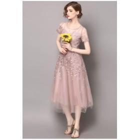 半袖 Aライン レースドレス デコルテ 袖あり 膝丈 ロング レース 花柄 結婚式 お呼ばれドレス ワンピース パーティードレス