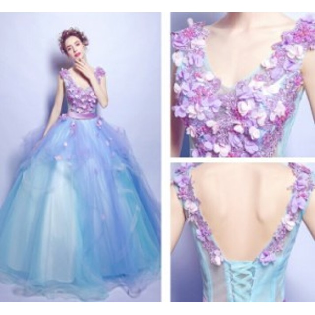 a81bf67b76641 即納 ウェディングドレス カラードレス フラワー flower ドレス 結婚式 披露宴 欧米人気 刺繍 プリンセスライン