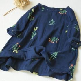 【受注製作】綿麻刺繍!可愛綿麻製トップス・ブラウス098016 青