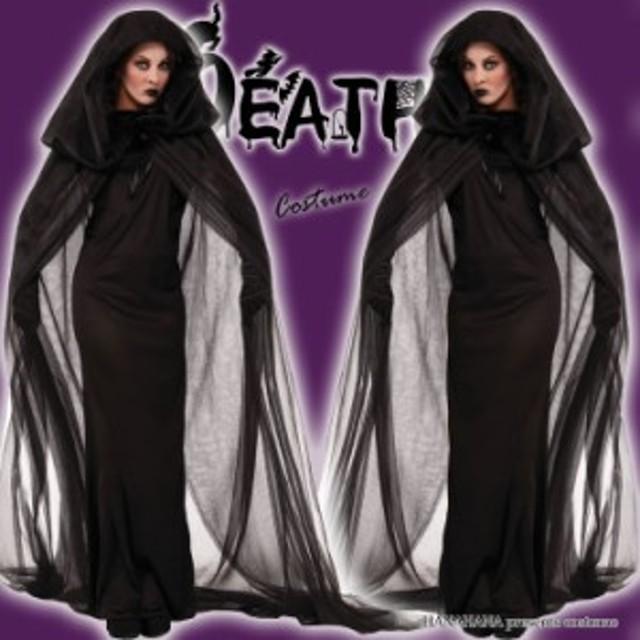 92a1df405b321 ハロウィン 死神 ウィッチ 魔女 悪魔 ロングドレス コスプレ コスチューム 衣装 仮装 大きいサイズ