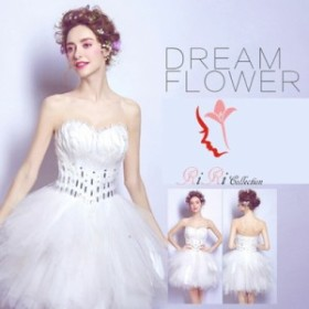 即納♪ウェディングドレス 天使 白鳥 羽毛 リボン  ドレス カラードレス バレエ 結婚式 オフショール 刺繍/プリンセスライン
