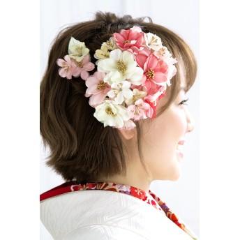 ヘアアクセサリー全般 - SOUBIEN 髪飾り 2点セット ピンク系 赤 レッド 白 アイボリー カラフル 花 フラワー コサージュ コーム Uピン 髪留め ヘアアクセサリー 成人式向け 振袖向け 卒業式向け 日本製